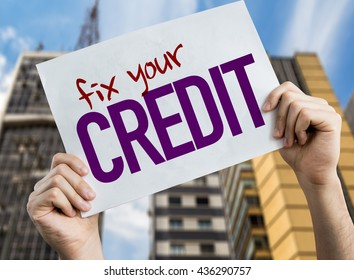 Fix Your Credit placard with cityscape background