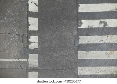 Fixed asphalt crosswalk or pedestrian in Bangkok, Thailand.