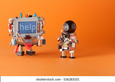 Fixing computer and repair center concept. Serviceman robot with screwdriver and engineer with capacitor, pliers and light bulb. Warning message help on blue screen monitor head orange background