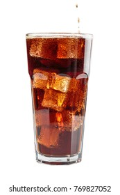 fizzy drink with ice in glass on white background
