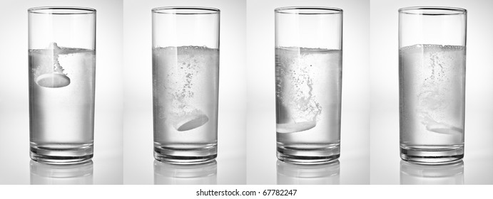 Fizzy tablet in a glass of water - set of four shots