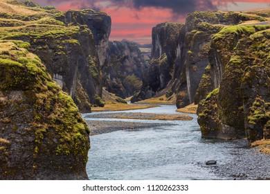 Fjadrargljufur canyon during sunset in Iceland