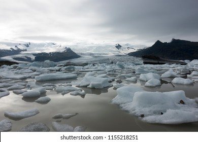 Fjallsarlon, a glacier lake with icebergs at the south end of the glacier Vatnajokull in Iceland