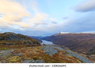 Fjord Gratangen, view from mountain Snolke, sunrise winter