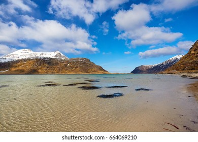 Fjord and landscape in Norway, Lofoten, Norway, Europe