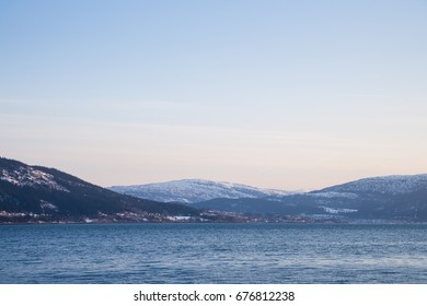 fjord landscape in norway in the winter