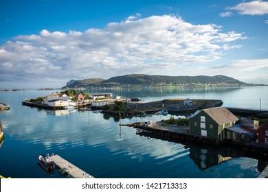 Fjord in Fosnavåg, little harbour in Norway / Scandinavia
