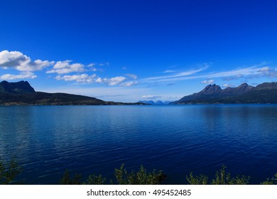 fjord in norway, deep blue sky and water