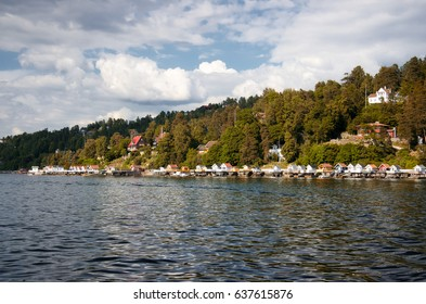 Fjord of the Oslo. Travel around the fjords in the spring and autumn.