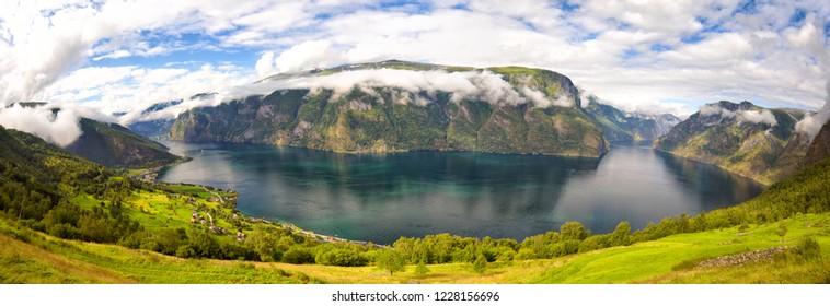 Fjord panorama, Aurlandfjord and Sognefjord, Norway