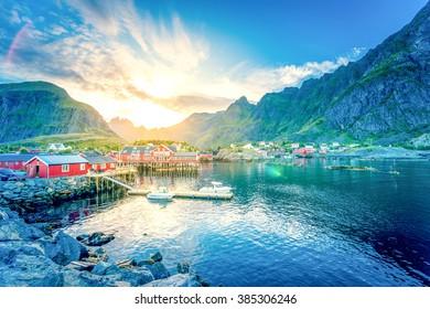 Fjord, Village, Lofoten, Norway,