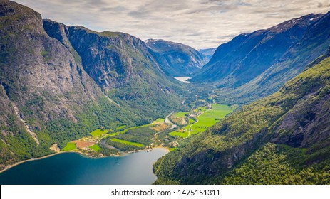 The fjord. Waterfall. Norway. Aerial view