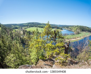 fjord-like river landscape Saalschleife in Thuringia
