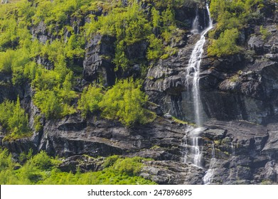 Fjords in Flam, Norway. At summer time. The snows is melting and become waterfalls
