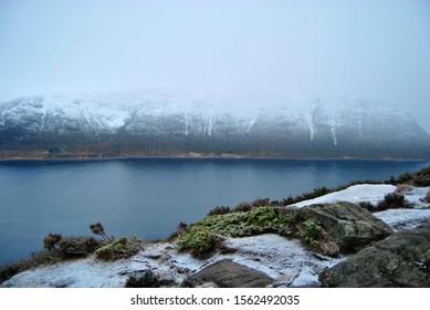 Fjords in Norway hidden in mist