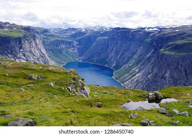 fjords Norway in summer sunny day. Hiking to Trolltunga