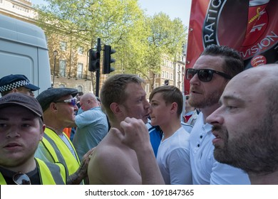 FLA members upset with Mohammed Hijab start to shout during the Day for Freedom event in Whitehall, London.  06/05/18
