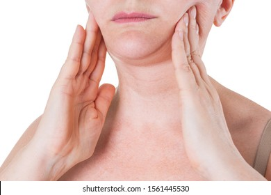 Flabby skin on the neck of an elderly woman isolated on white background, wrinkle treatment