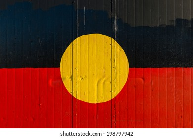 Flag of Aborigines painted onto a wall
