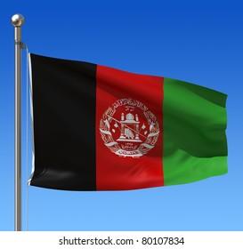 Flag of Afghanistan against blue sky. Three dimensional rendering illustration.
