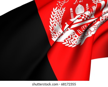 Flag of Afghanistan against white background. Close up.