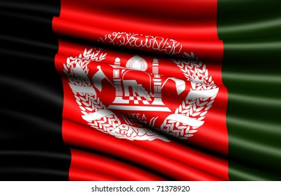 Flag of Afghanistan. Close up.