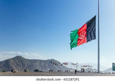The flag of Afghanistan at half mast at Wazir Akbar Khan hill.