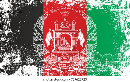 Flag of Afghanistan, Islamic Republic of Afghanistan, Wrinkled dirty spots. Can be used for design, stickers, souvenirs
