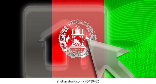 Flag of Afghanistan, national country symbol illustration home website internet