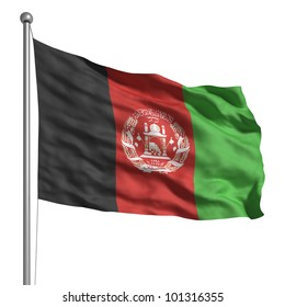 Flag of Afghanistan. Rendered with fabric texture (visible at 100%). Clipping path included.