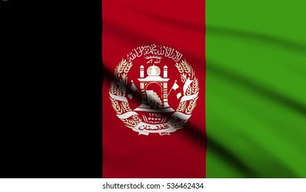 Flag of Afghanistan waving in the wind