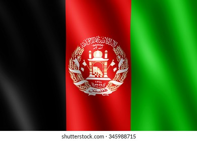 Flag of Afghanistan waving in the wind giving an undulating texture of folds in the fabric. The Image is in the official ratio of the flag - 2:3.