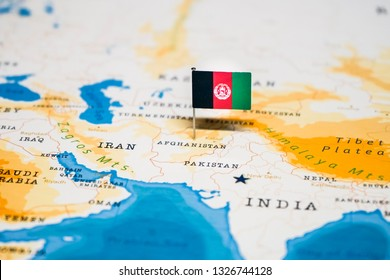 the Flag of afghanistan in the world map