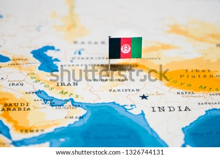 Flag Afghanistan World Map Stock Photo (Edit Now) 1326744131 ...