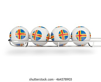 Flag of aland islands on lottery balls. 3D illustration