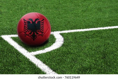 The flag of Albania is depicted on a football, with a good place for your text