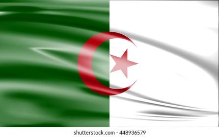 Flag of Algeria 3D, silk texture