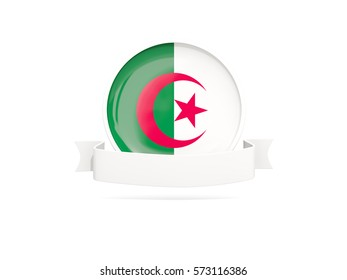 Flag of algeria with empty banner  isolated on white. 3D illustration