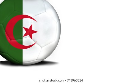 The flag of Algeria was represented on the ball, the ball is isolated on a white background with space for your text.