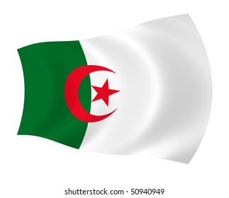 Flag of Algeria, waving in the wind