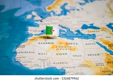 the Flag of algeria in the world map
