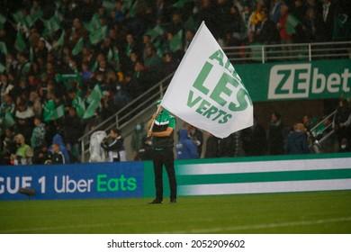 Flag Allez les verts during French championship Ligue 1 football match Saint-Etienne vs Olympique Lyonnais 10-3-2021 Geoffroy Guichard stadium Saint-Etienne France