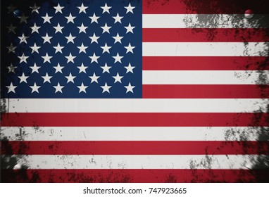Flag of America, background, texture, dirty, illustration