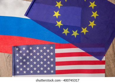 flag of america, europe and russia