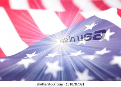 Flag of America and slogan Made in USA
