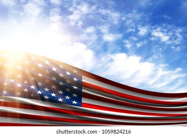 flag of america in the sun