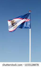 Flag of American Samoa waving in the sky