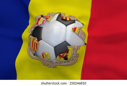 Flag of Andorra and soccer ball, hole in flag