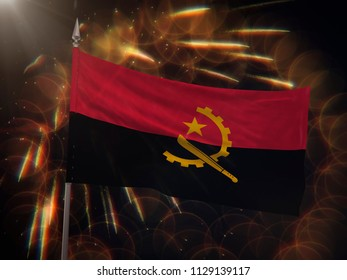 Flag of Angola with fireworks display in the background