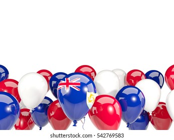 Flag of anguilla, with balloons isolated on white. 3D illustration